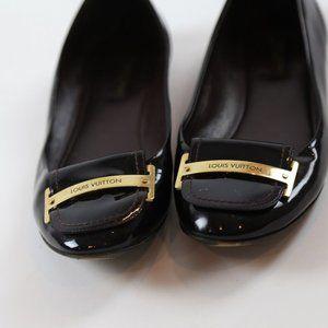 Louis Vuitton Burgundy Patent Leather Flats